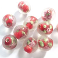 20 Red 10mm Round Lampwork Glass Beads